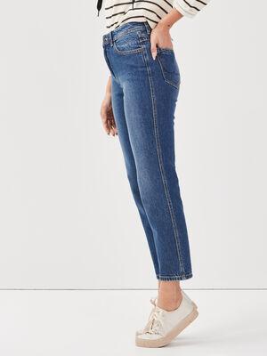 Jeans straight denim stone femme