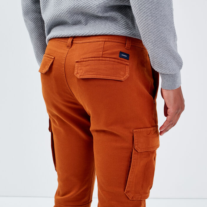 Pantalon cargo taille à cordon camel homme