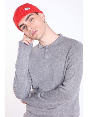 bonnet en maille cotee homme instinct rouge