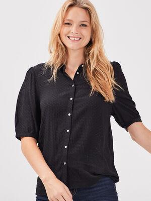Chemise manches courtes noir femme