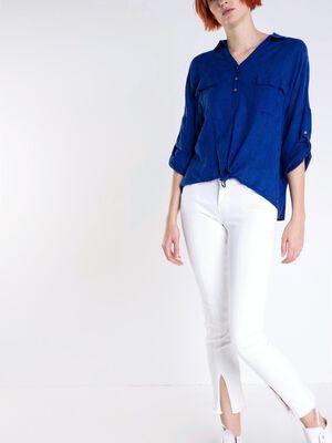 Jeans slim fentes franges blanc femme