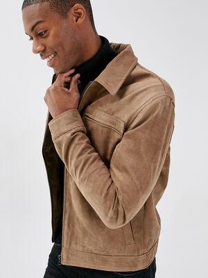 Veste droite manches longues marron homme