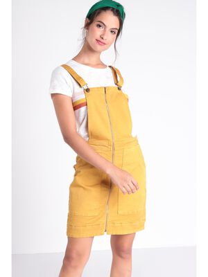 Robe chasuble zippee jaune moutarde femme