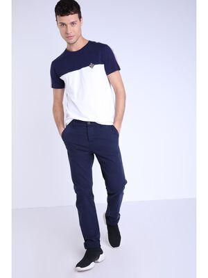 Pantalon chino slim bleu fonce homme