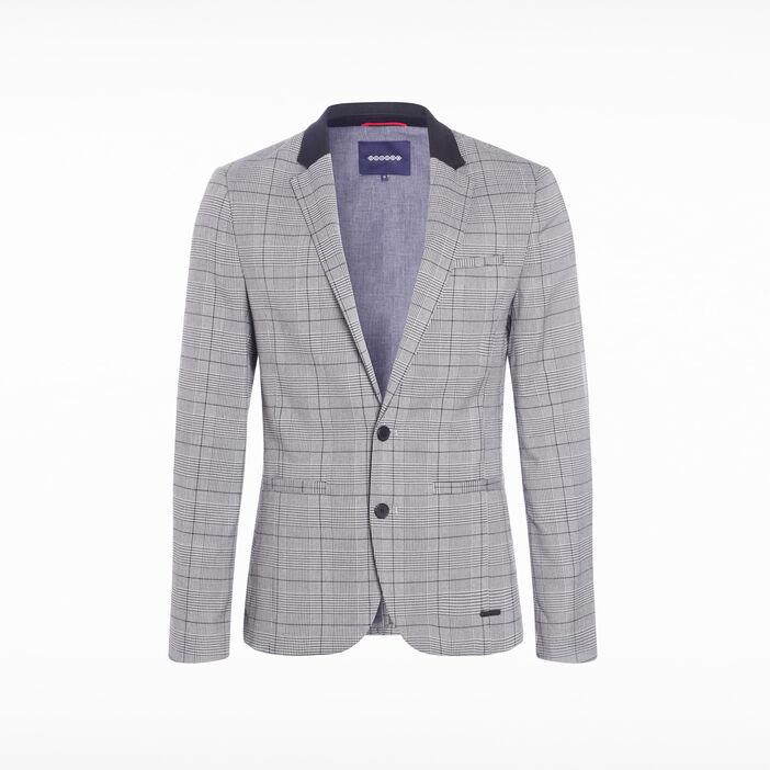 Veste blazer ajustée 3 poches blanc homme