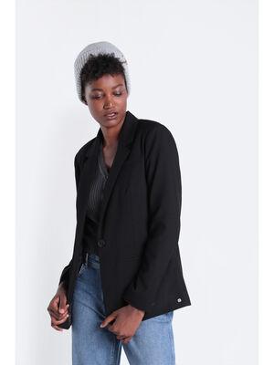 Veste cintree boutonnee noir femme
