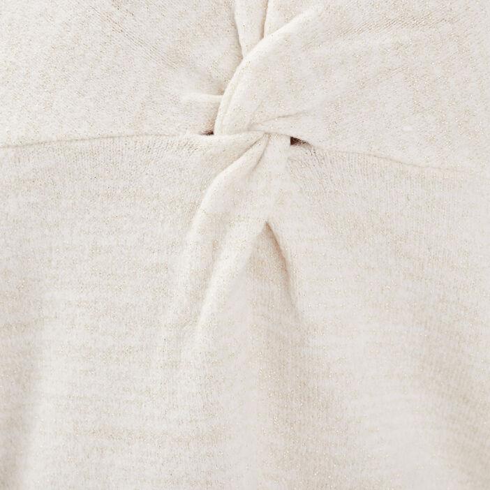 Pull manches longues col en V blanc femme