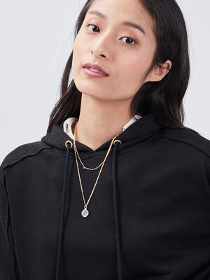 Collier multirangs a pendentif couleur or femme