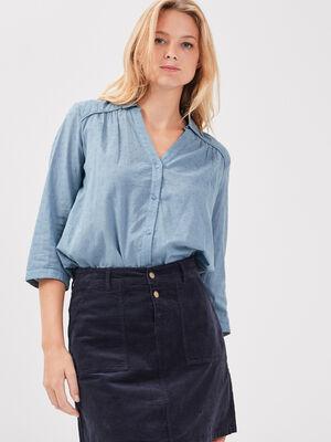 Chemise manches 34 bleu gris femme
