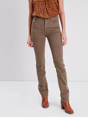Pantalon regular taille haute vert kaki femme