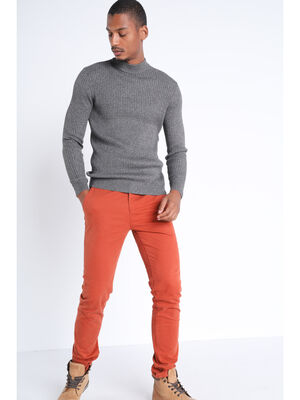 Pantalon slim Instinct chino orange fonce homme