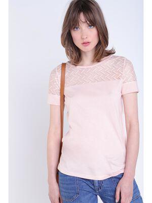 T shirt manches courtes rose clair femme