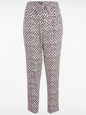 Pantalon fluide motif ethnique blanc femme