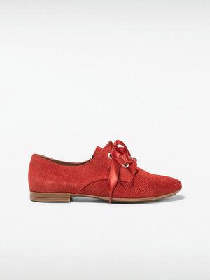 Derbies plats lacets rubans rouge femme