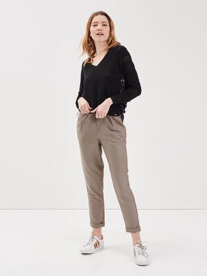 Pantalon carotte taille haute beige femme