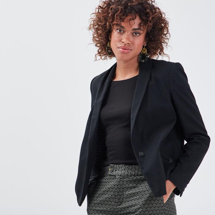 Veste droite à col châle noir femme
