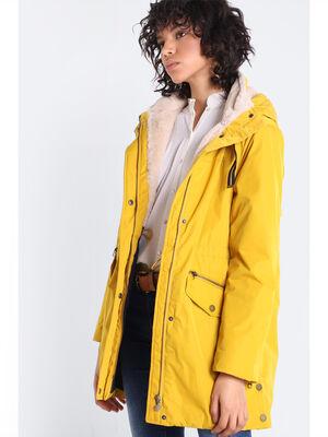 Parka droite a capuche doublee jaune moutarde femme