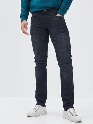 Jeans slim avec empiecements denim noir homme