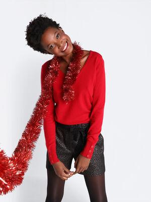 Pull manches cachemire et laine rouge clair femme
