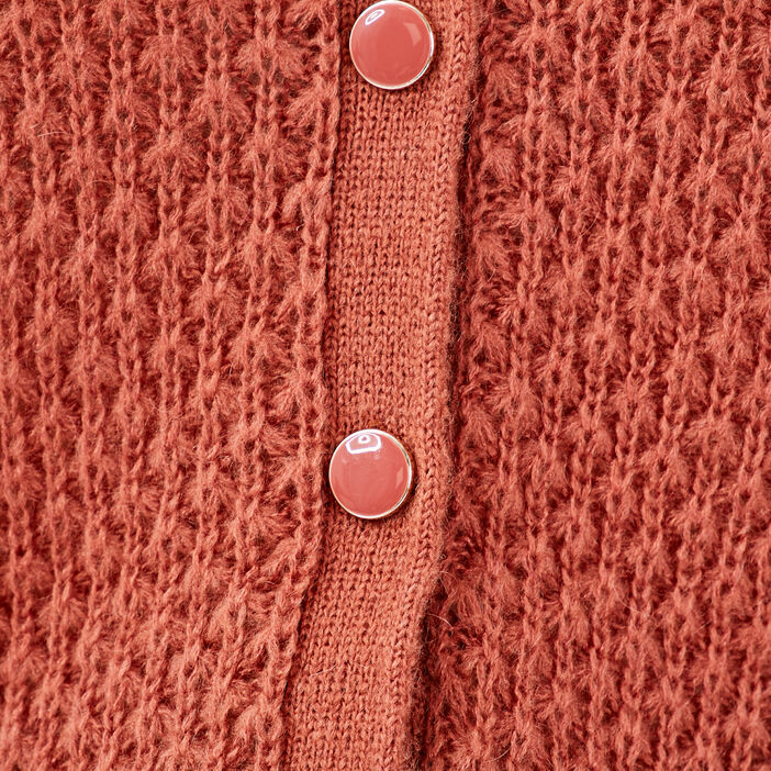 Gilet manches longues boutonné vieux rose femme