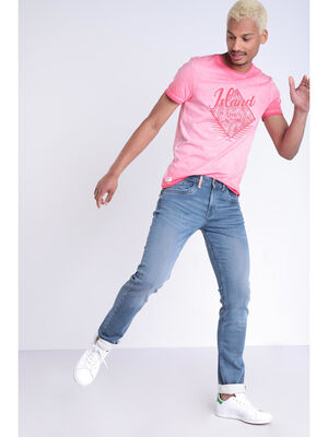 Jeans straight effet used denim dirty homme