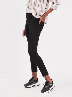Jeans slim boutons denim noir femme