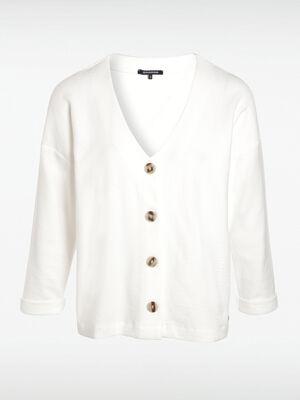 Gilet manches longues boutonne blanc femme