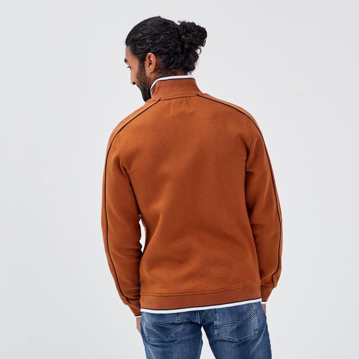 Sweat manches longues zippé camel homme