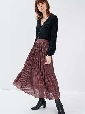 Jupe longue evasee plissee marron femme