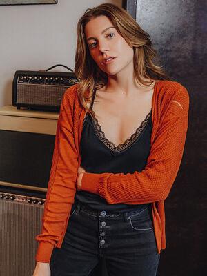 Gilet manches longues ajoure orange fonce femme