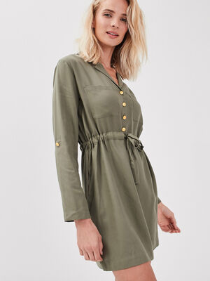 Robe droite taille coulisse vert kaki femme