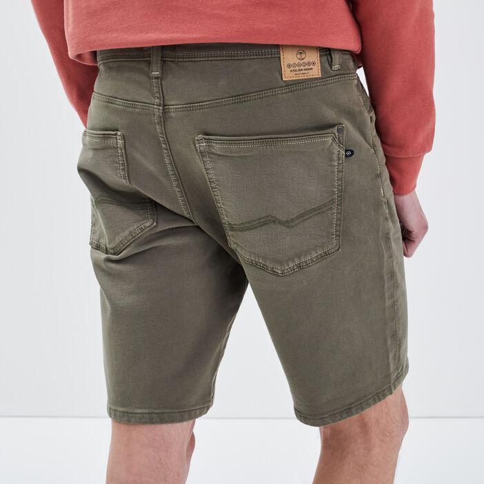 Bermuda droit 5 poches vert kaki homme