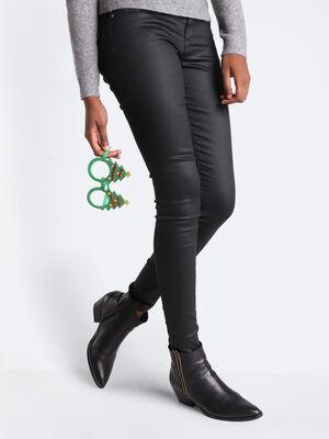 Jeans skinny push up denim noir enduit femme