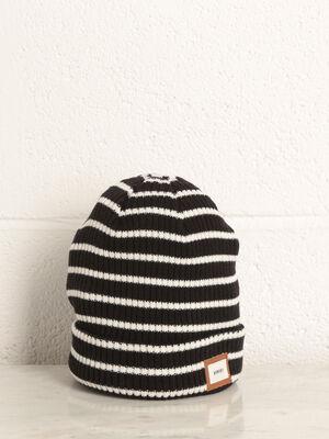 Bonnet tricote cotele noir homme