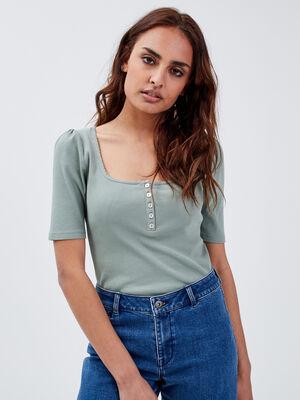 T shirt manches courtes cotele vert olive femme
