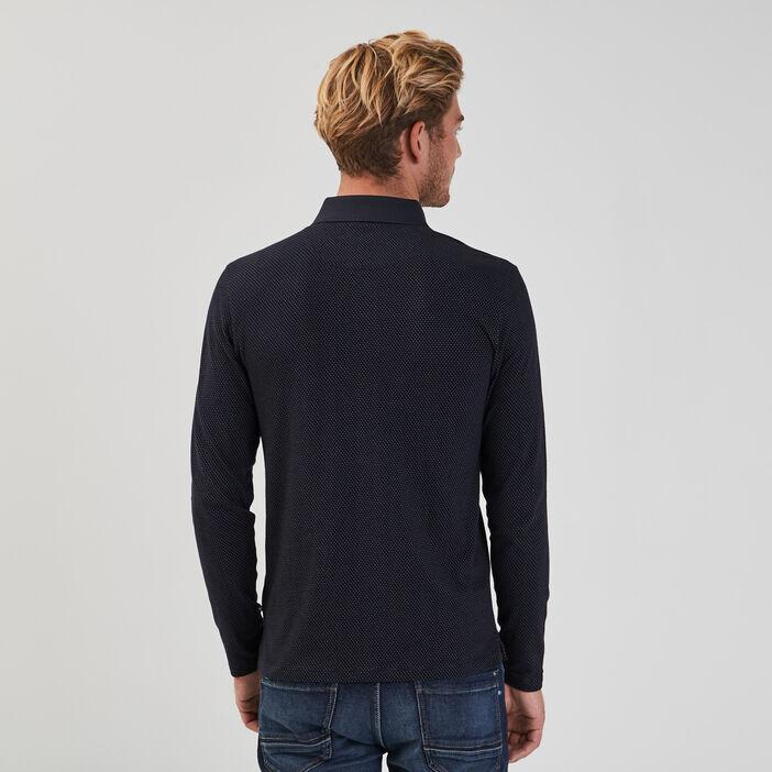 Polo manches longues bleu marine homme