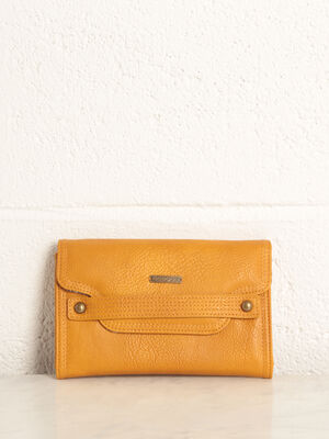 Portefeuille avec rabat jaune or femme