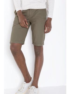 Bermuda chino droit coton vert kaki homme