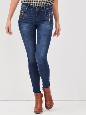 Jeans skinny details pampilles denim brut femme