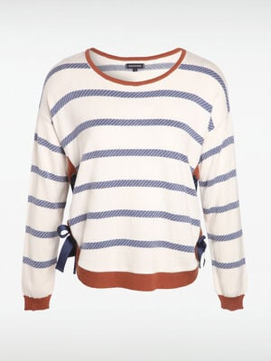 Pull raye a bords noues blanc femme