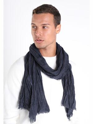 Foulard a frange courte bleu gris homme