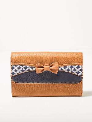 Portefeuille avec noeud marron femme