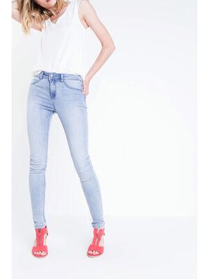 Jeans jegging skinny taille haute denim bleach femme