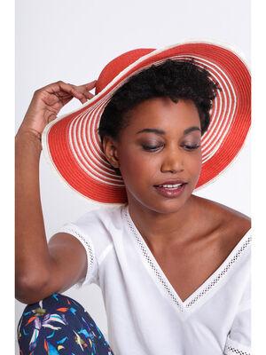 Chapeau rond avec franges orange fonce femme