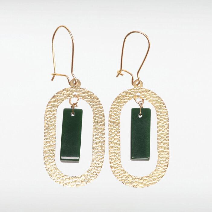 Boucles d'oreilles pendantes vert kaki femme