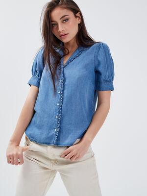 Chemise manches courtes denim used femme