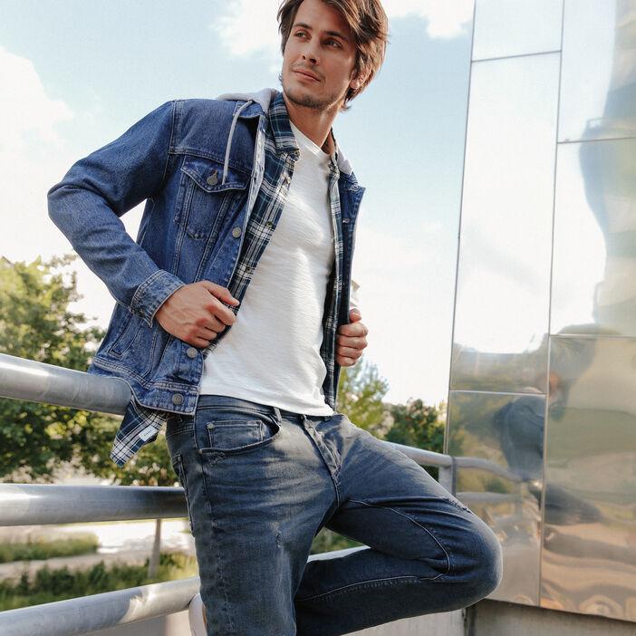 Veste droite en jean à capuche bleu gris homme