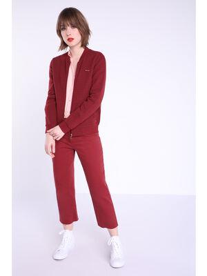 Jeans regular taille haute rouge fonce femme