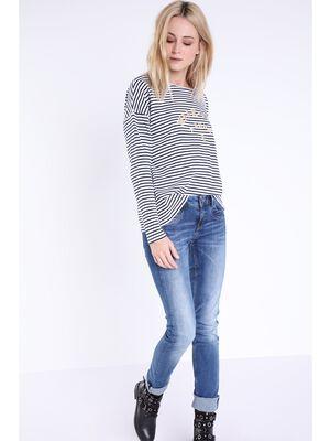 jeans slim femme taille basse denim stone