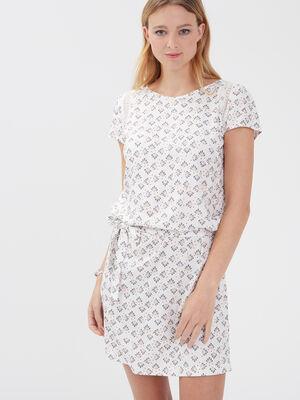 Robe droite details dentelle blanc femme